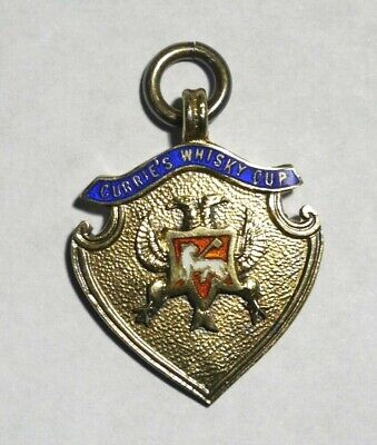 Rare Vintage Perth Currie's Whisky Cup Sterling Silver Enamel Medal.