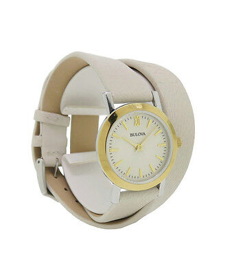 Bulova 98L193 Women's Double Wrap Taupe Leather Band Roman Numeral Analog Watch