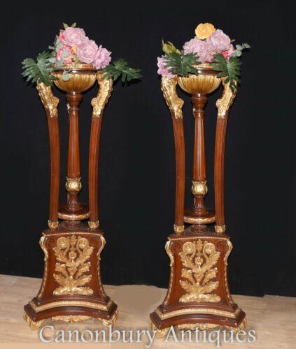 Pair Gilt Torcheres Pedestal Stands Column Supports French