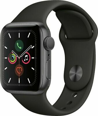 Apple Watch Series 5 40mm Space Gray Aluminium Case Black Sport Band MWV82LL/A
