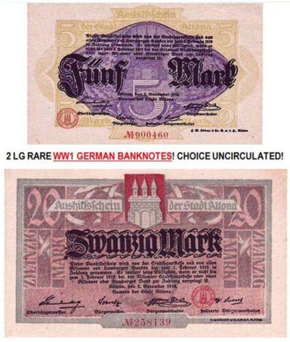 2 LG RARE COLORFUL WW1 GERMAN EMPIRE BANKNOTES (HAMBURG) CRISP AU-CU! $50 RETAIL