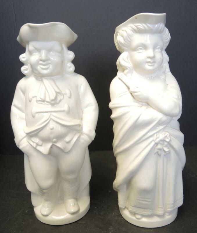 Rare Minton Salt Glaze Toby Jug Character Pitchers - Quaker Woman & Quaker Man