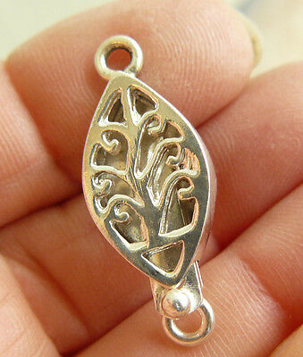 "Oval Sterling Silver Box Clasp Single Strand Cut out Design 1 1/8"" long"