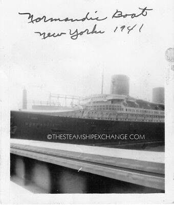 OCEAN LINER NORMANDIE - LOT OF TWO ORIGINAL PHOTOS LAID UP IN NY, 1941