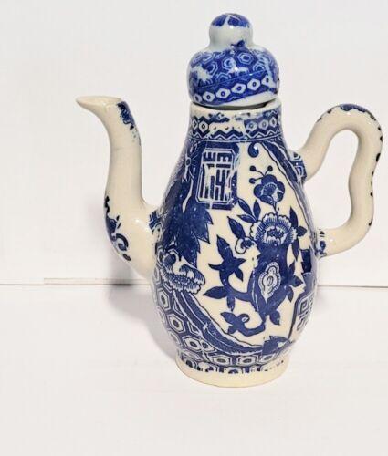 "Small Blue & White  Asian Porcelain Teapot 5"" Tall"