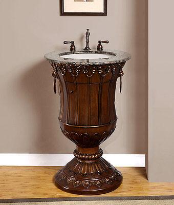 "23"" Bathroom Single Sink Stone Top Vanity Cabinet Lavatory Pedestal Stand 141BB"