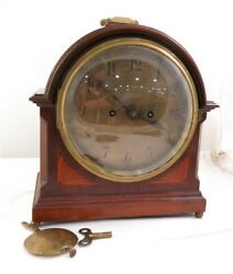 Antique German Carriage Winterhalder & Hoffmeier Wood Mantle Clock Bubble Glass