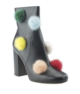 Fendi Pompom Black Leather Ankle Boots, Size 40