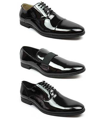 New Men's Black Patent Leather Tuxedo Dress Shoes Formal Shiny Wedding Prom AZAR Mens Black Formal Tuxedo Shoes