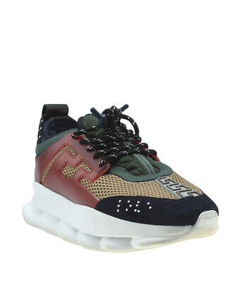 Versace Chain Reaction Multi-Color Suede & Leather Sneakers, Size 44