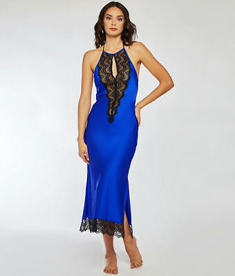 iCollection Tess Satin  Lace Long Gown Lingerie - Women's