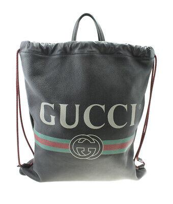 Gucci 495477 Logo Drawstring Black Leather Backpack