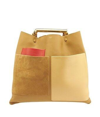 Celine Geometrical Red & Tan Color Block Lambskin Leather Tote