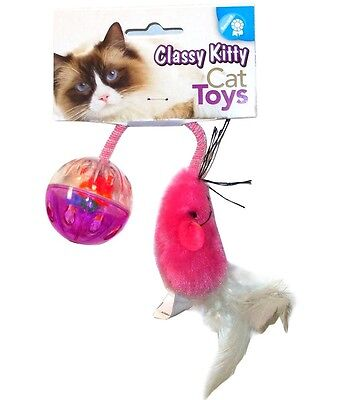 NORTH AMERICAN PET CLASSY KITTY MOUSE WITH PLASTIC BALL CAT TOY FREE SHIP TO USA