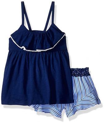 Calvin Klein Girls Navy Flounce op 2pc Short Set Size 2T 3T