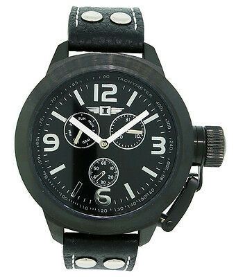 I by Invicta IBI70113-003 Men's Full Analog Black Day Date Black Leather Look after