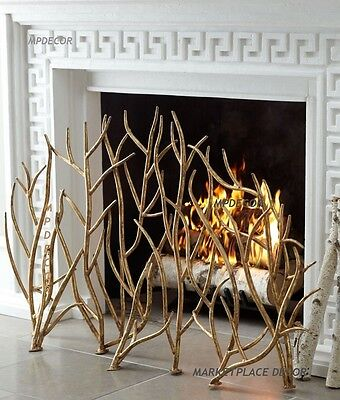 """Gold Branches Iron Fireplace Fire Screen Hand Forged Modern Branch Twig  48"""""""