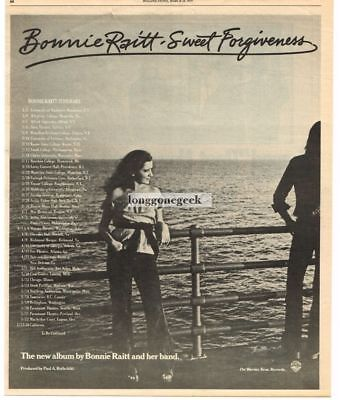 1977 Bonnie Raitt Sweet Forgiveness Vtg Album Promo Print Ad with tour dates