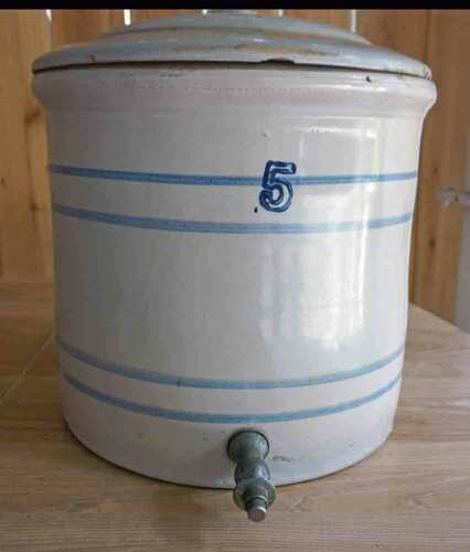 Antique Marshall Pottery 5 Gallon w/spigot Dispenser and Lid