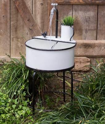 Vintage Enamelware Rep. Metal Distressed Garden Sink (Distressed White Metal Plant Stand)