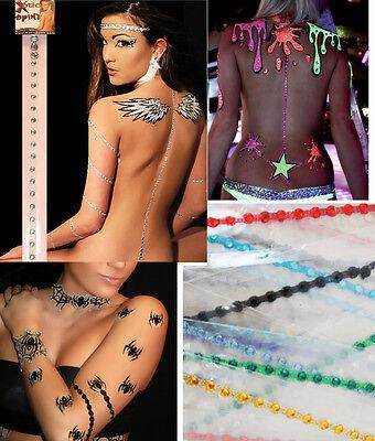 Crystal Gem Body Sticker Back Spine Arm Band Leg Garter Glitter Costume Makeup