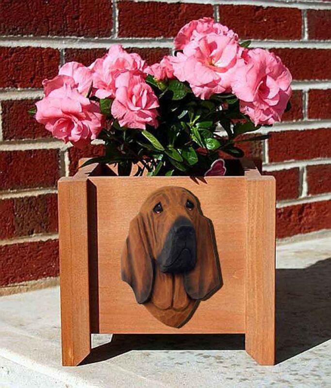 Bloodhound Planter Flower Pot Red