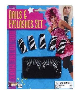 80s Zebra Stripe Nails and Eyelashes Stick on Make up Adult Costume Black White - Zebra Halloween Makeup