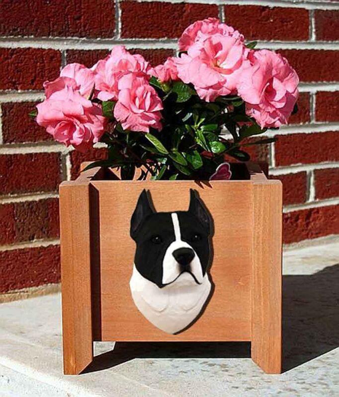 American Staffordshire Planter Flower Pot Black White
