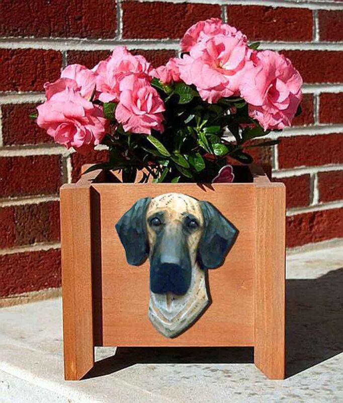 Great Dane Planter Flower Pot Fawn Brindle