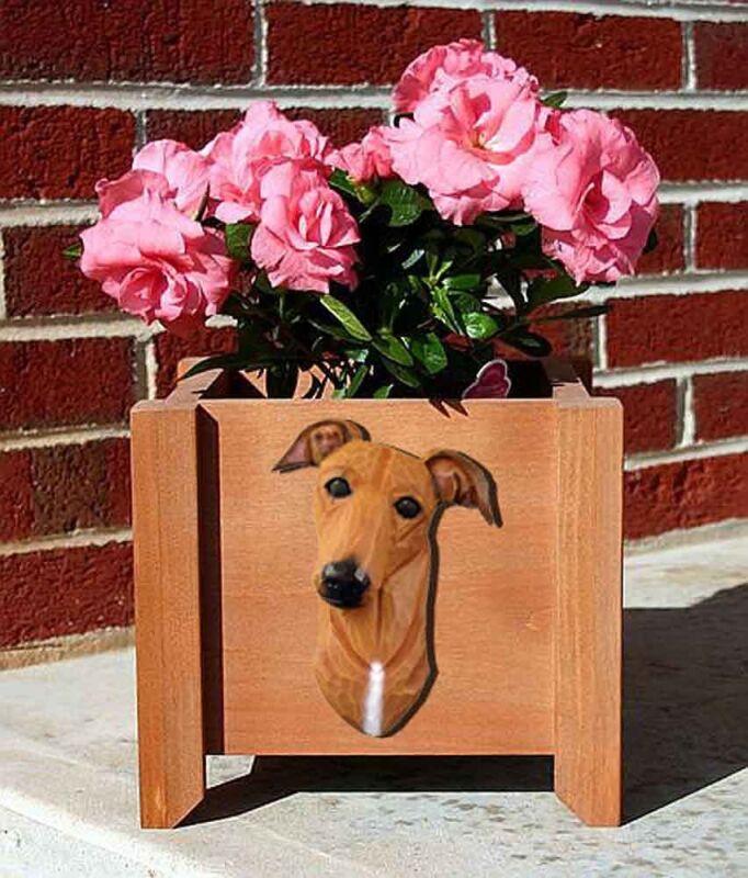 Greyhound Planter Flower Pot Red