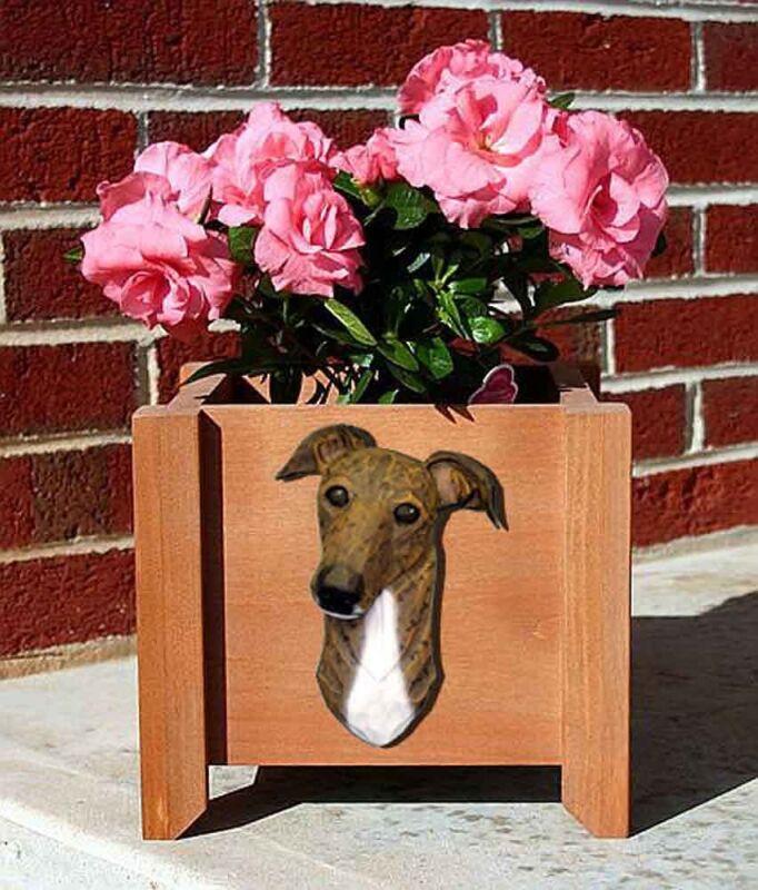 Greyhound Planter Flower Pot Brindle