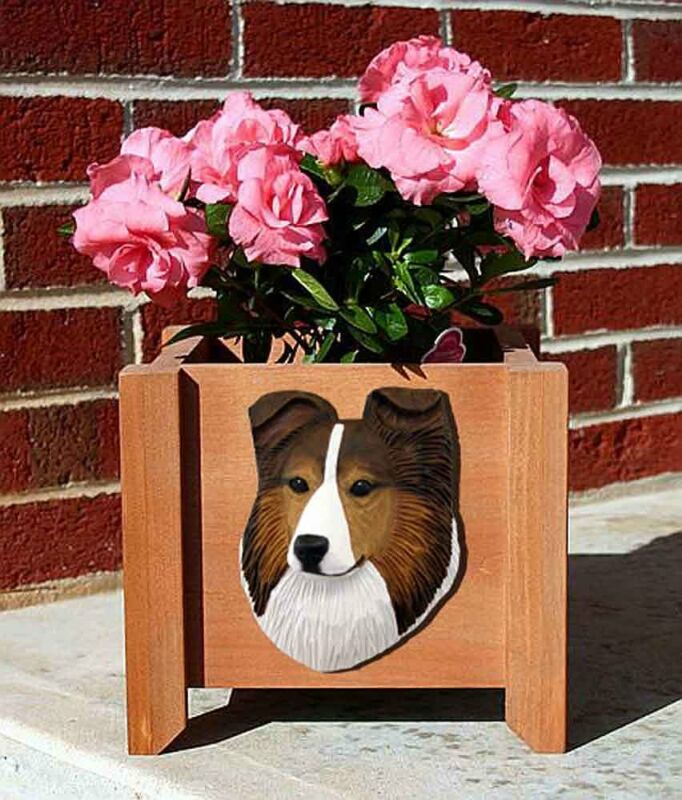 Sheltie Planter Flower Pot Sable