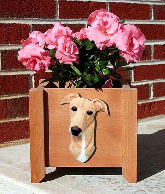 Greyhound Planter Flower Pot Fawn