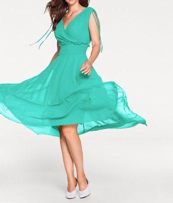 A626.029# NEU! Designer-Georgettekleid, türkis, Gr. 40, Ashley Brooke Georgette Designer