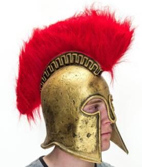 Mens Latex Roman Helmet Greek Perseus Fancy Dress Hat...CHEAP