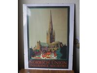 Original Vintage Retro 1950s Advertising Poster Norwich Union Insurance Socities