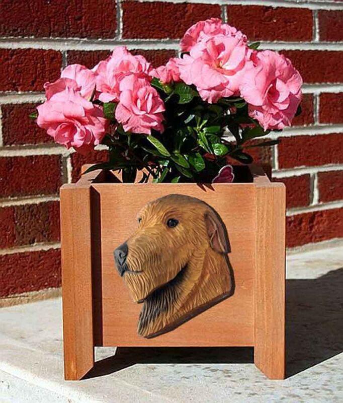 Irish Wolfhound Planter Flower Pot Red