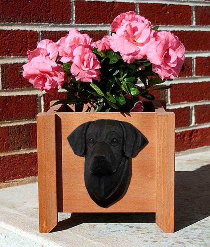 Black Labrador Planter Flower Pot