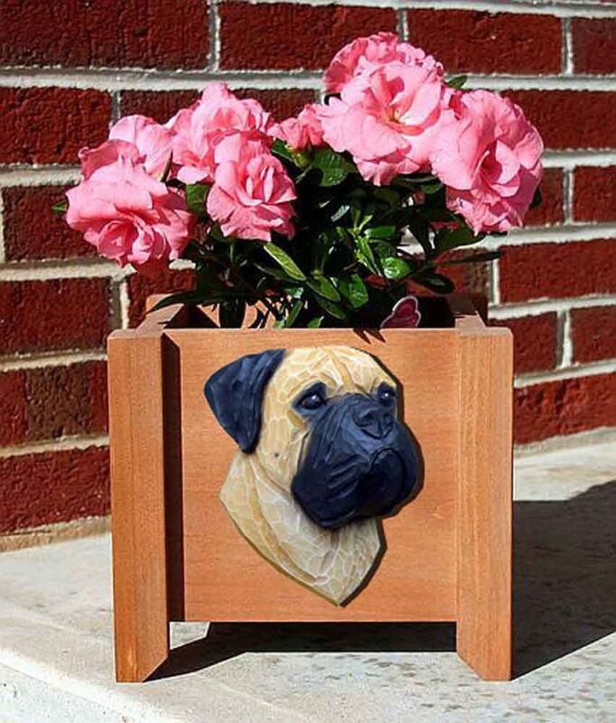Bull Mastiff Planter Flower Pot Fawn