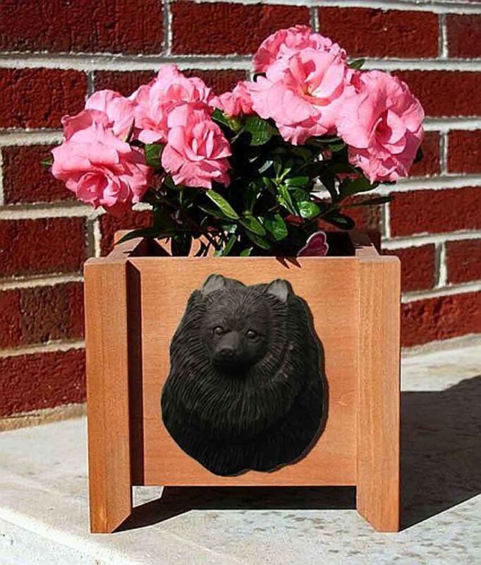 Pomeranian Planter Flower Pot Black