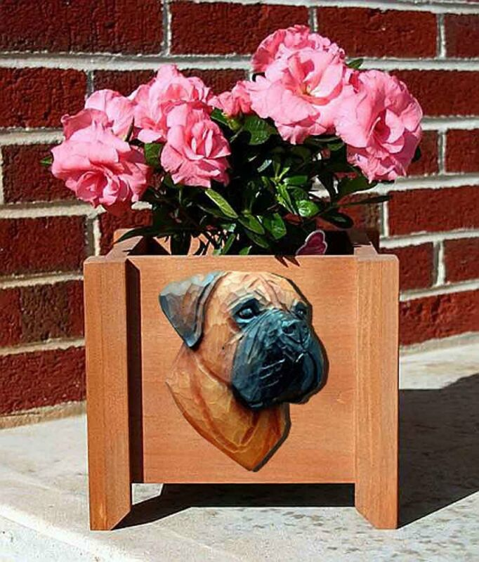 Bull Mastiff Planter Flower Pot Red