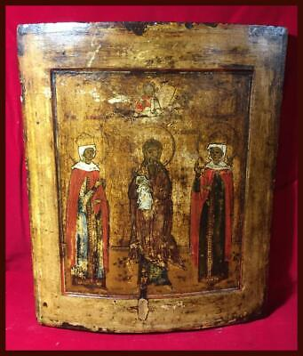 Antique Russian Icon | St. Simeon the God-Receiver & Two Female Martyrs