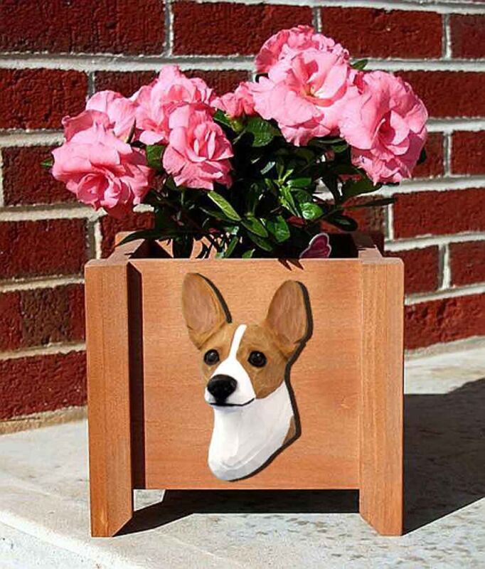 Rat Terrier Planter Flower Pot Red White