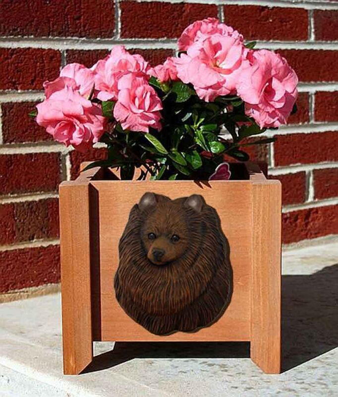 Pomeranian Planter Flower Pot Brown