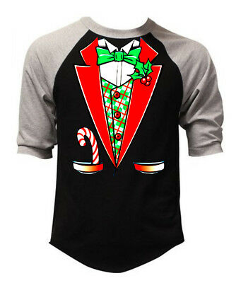 Christmas Tuxedo Men's Raglan Baseball T Shirt Black Holiday Santa Claus -