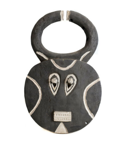 African Carved Wood BAULE Goli mask Black painted with white pigment
