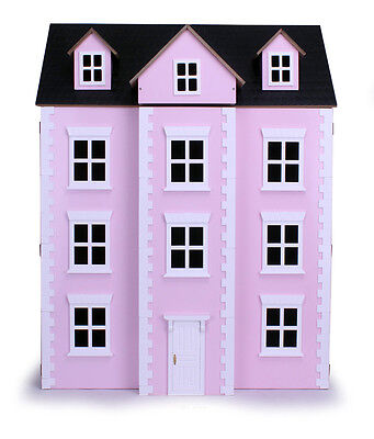 Three Storey Pink Dolls House Townhouse 3 Floors Wooden Collectors Modern