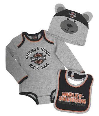 Harley-Davidson Infant Boys Gray 3-Piece Creeper, Bib and 3-D Bear Set 2554901  Harley Boys 3 Piece