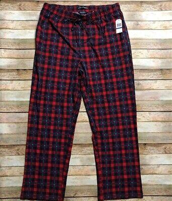 Nautica Mens Ultra Soft Pajama Sleep Lounge Plaid Pants XL Red Blue