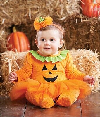 Mud Pie Halloween Tutu Pumpkin One-Piece With Headband 0-6 Months